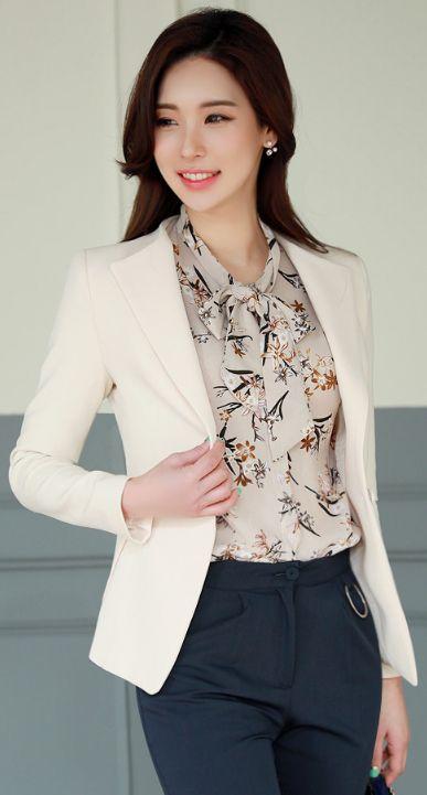 StyleOnme_Single Button Slim Fit Collared Jacket #ivory #elegant #feminine #jacket #springtrend #officelook #koreanfashion #kstyle #seoul