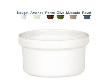 """Ramekin —Perfect for crème brulee or other small desserts/appetizers. Solid, durable and lead-free, our ramekins retain heat to keep your foods warm, go directly from freezer to oven, and are chip, crack and scratch-resistant. Dishwasher & Microwave Safe. Capacity: 6 oz. Size: 3.5"""".  Call 905·885·9250."""