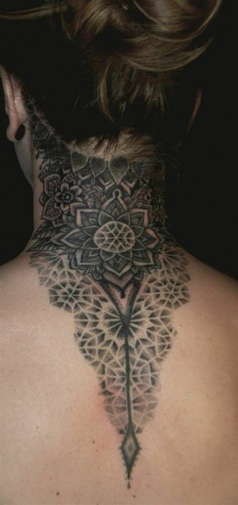 Tattoo Lotus mandala back neck