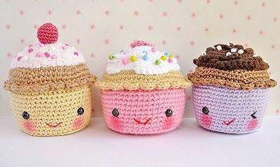Kawaii #amigurumi #cupcakes by Willy-Nilly Waterlily - no pattern, just cuteness!