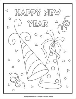 New Years coloring pages - New Years eve coloring sheets - party hats