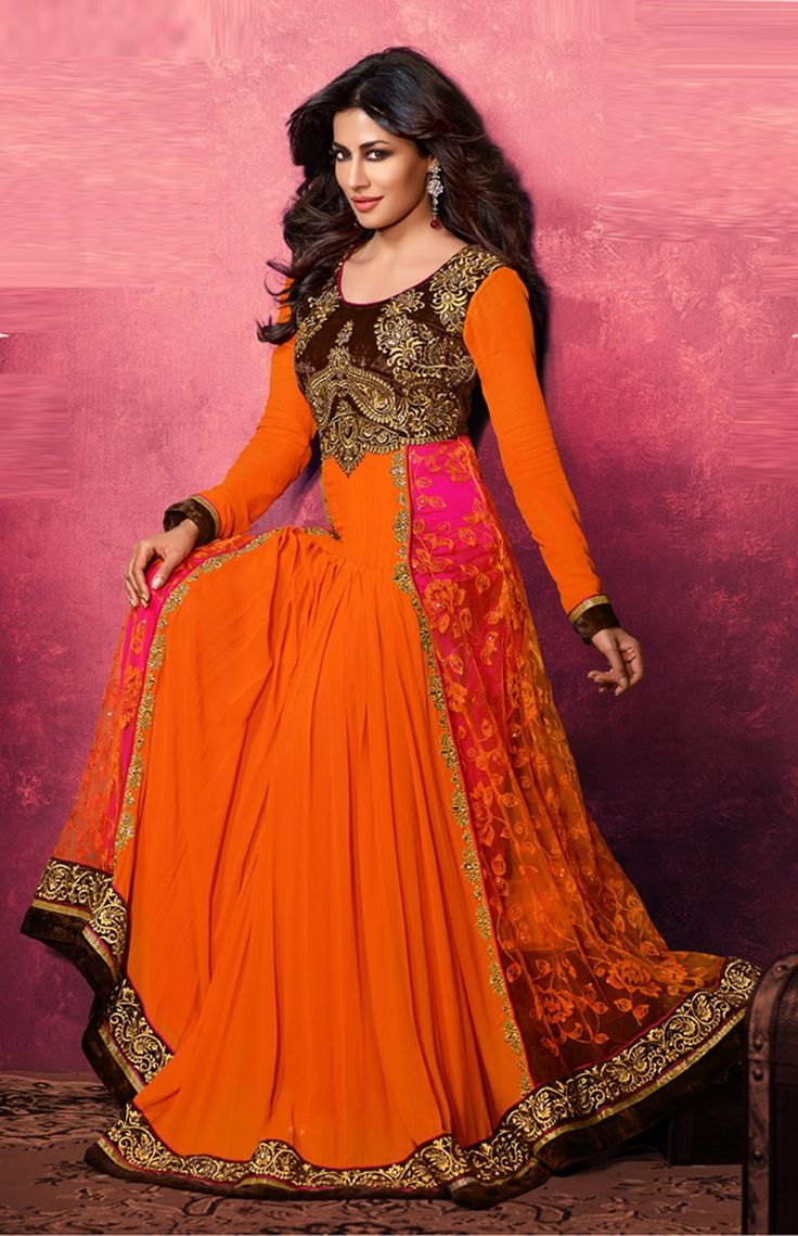 Orange Chitrangda Singh #long #anarkali dress in #georgette http://www.reshamfabrics.com/salwar-suits/orange-swagat-chitrangda-singh-long-anarkali-dress-in-georgette.html