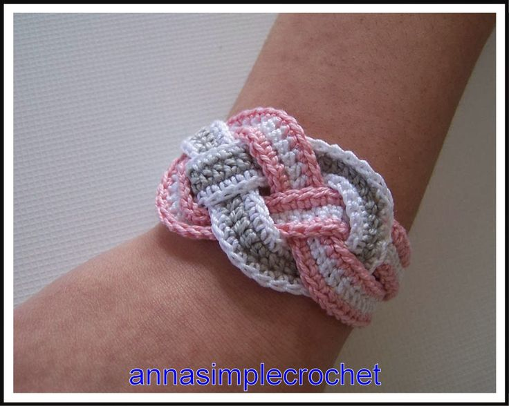 Crochet Bracelet, but I am thinking about using strips of leather or something else.