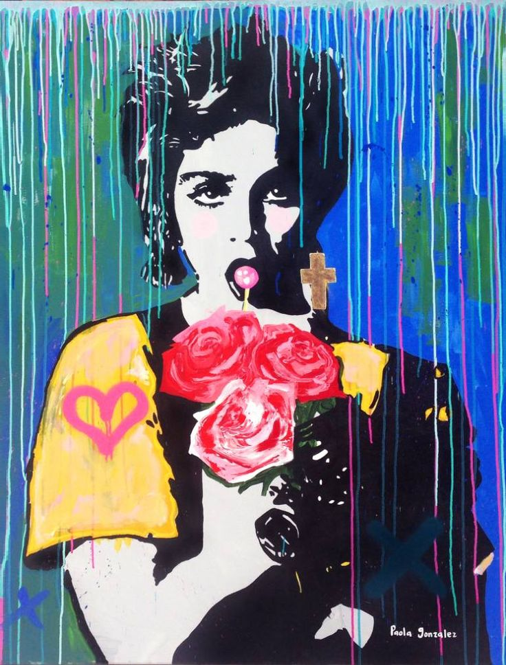 """""""MADONNA- WHOS THAT GIRL,"""" pop art blue painting by artist Paola Gonzalez 
