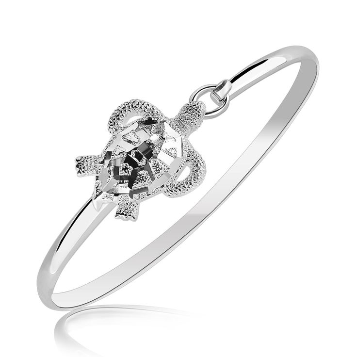 Sterling Silver Rhodium Plated Turtle Design Slim Bangle
