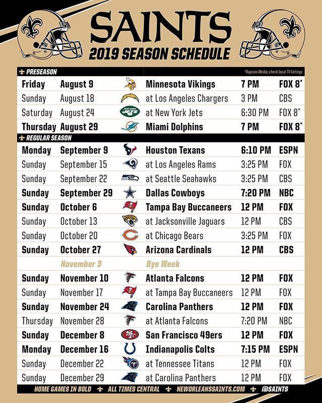 The 2019 Saints Schedule Saints Schedule New Orleans