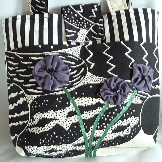 Funky Canvas Tote with Purple Flowers by wiredroxz on Etsy