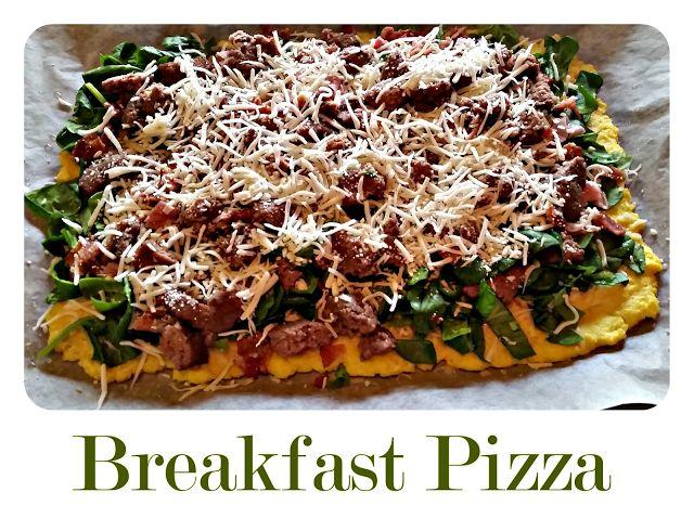 Soooo tired of eggs for breakfast. Breakfast Pizza with cauliflower crust primal friendly