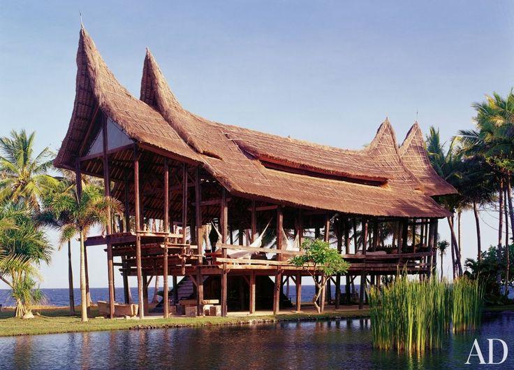 Beneath the sacred volcano Mount Agung in East Bali, designer Linda Garland revived traditional Sumatran Minangkabau architecture