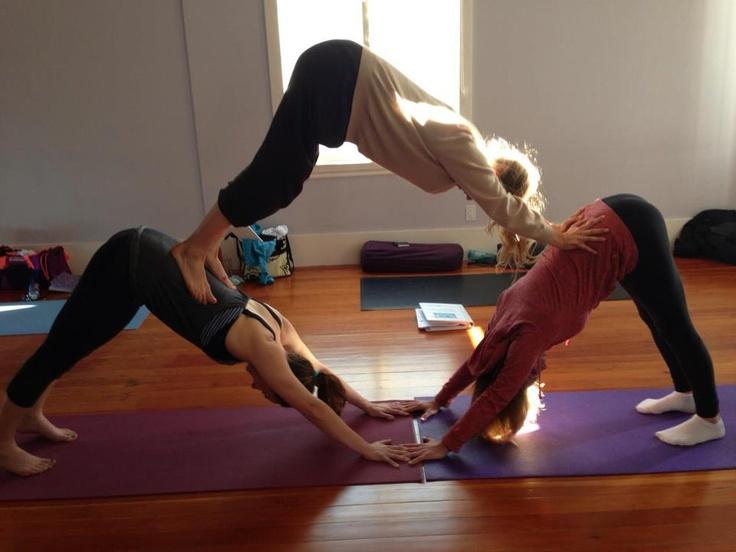 cool downward dog pyramid! | Partner/Acro Yoga | Pinterest ...
