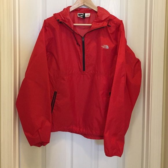 the north face // windbreaker (M) The North Face windbreaker in red. Lightweight pullover style jacket with stow pocket on back...great for travel! North Face Jackets & Coats