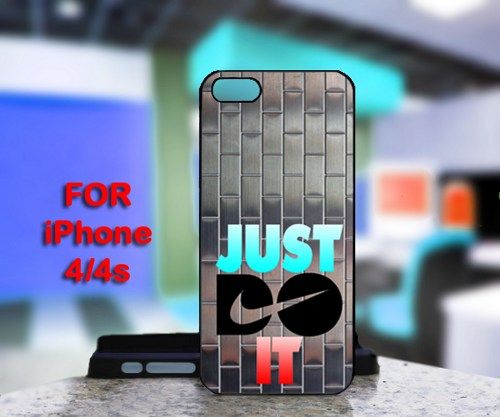 Nike Just Do It Metal Silver For IPhone 4 or 4S Black Case Cover