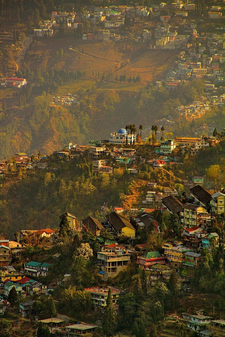 Aerial view of Darjeeling, a popular hill station in India.