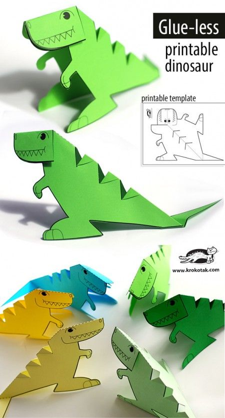 Glue-lee printable dinosaur (krokotak)