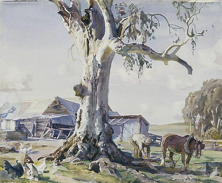 Hans Heysen  -  The farmyard gum, (1936) pencil, watercolour on white wove paper,  33.0 x 40.2 cm  -   Art Gallery NSW