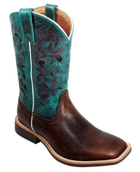 Twisted X Youth Top Hand Turquoise Cowgirl Boots - Square Toe