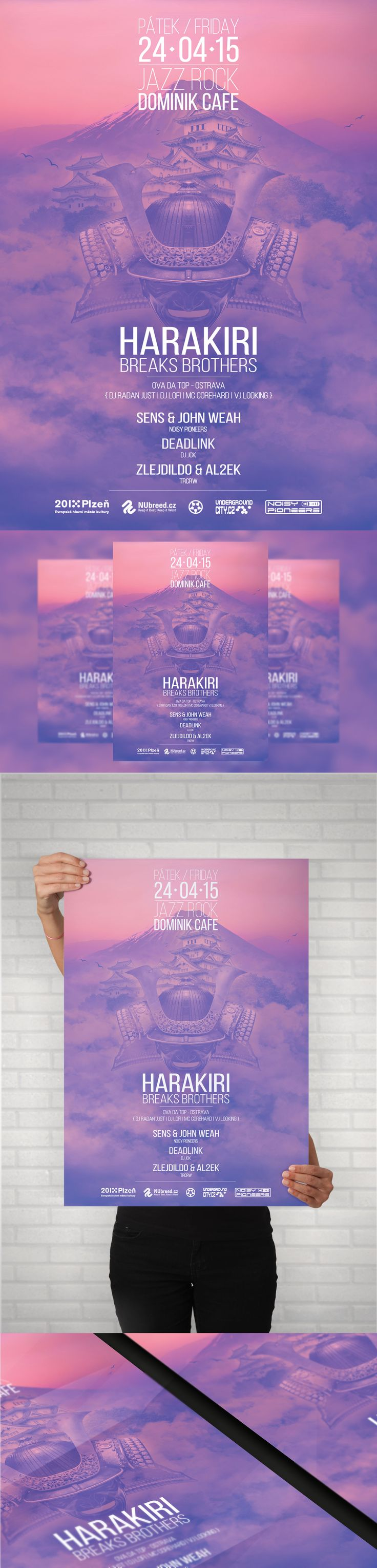 Harakiri Breaks Brothers  Electronic music event - A4 Poster, Facebook event header and preview. #poster #posterdesign #fbheader #graphicdesign
