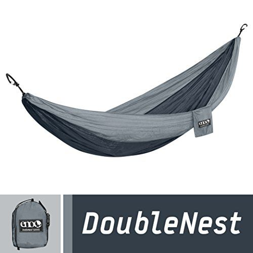 ENO Eagles Nest Outfitters - DoubleNest Hammock, Portable Hammock for Two, Charcoal/Grey. For product & price info go to:  https://all4hiking.com/products/eno-eagles-nest-outfitters-doublenest-hammock-portable-hammock-for-two-charcoalgrey/