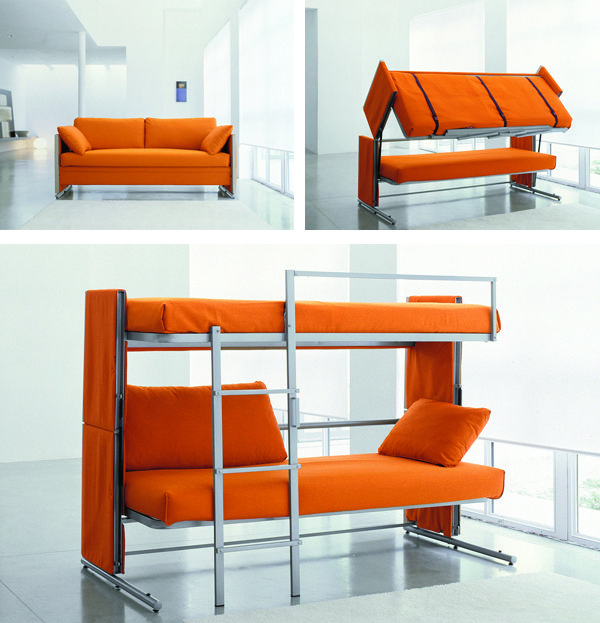 Sofa turns into a bunk bed- genius!