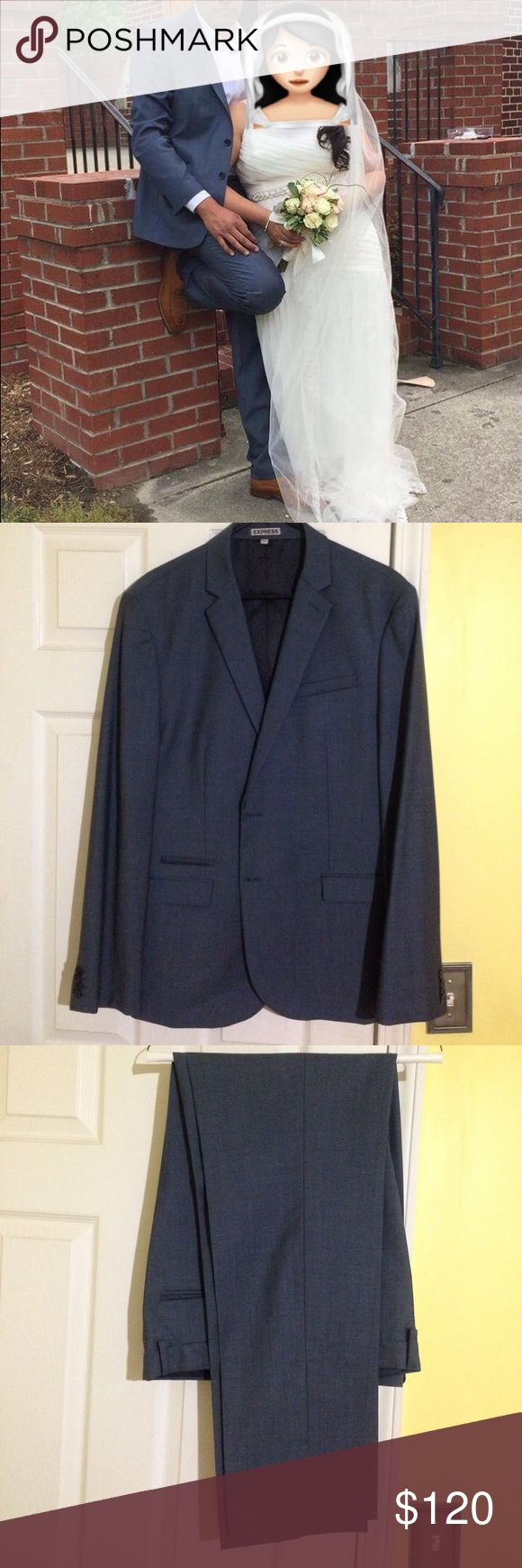 Express men suit set Slim fit 42R suit and 34/34 pants, paid over $400 for both. Refer to 2nd picture for a better idea of the color, as it can be confused between blue and gray. Like new condition. Dry cleaned. Express Suits & Blazers