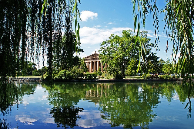Centennial Park is located 2 miles West of downtown Nashville, TN.  It is on 132 acres and has a replica of The Parthenon.  Very beautiful.