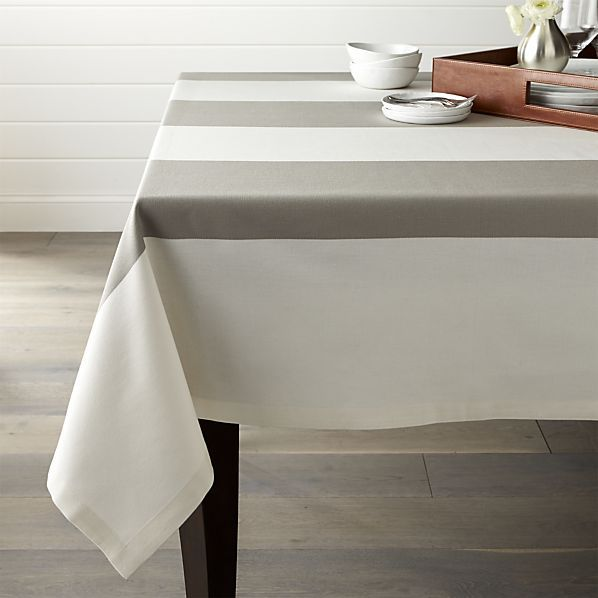 Sophisticated modern cotton tablecloth alternates broad stripes of ivory and warm grey.