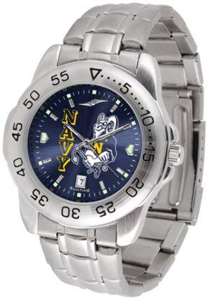 Navy Midshipmen Sport Steel Band Ano-Chrome Men's Watch