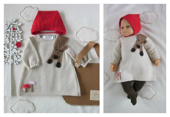 Knitted baby dress and cap. Little Red Riding Hood. by tenderblue