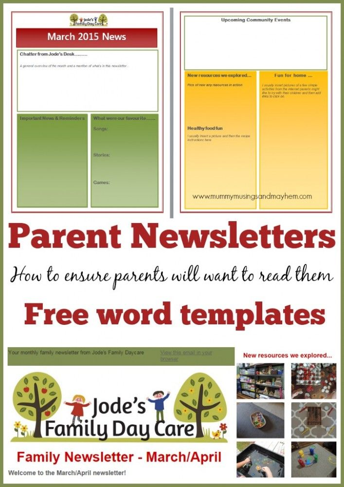 35 best images about kids newsletter on pinterest for Childcare newsletter templates