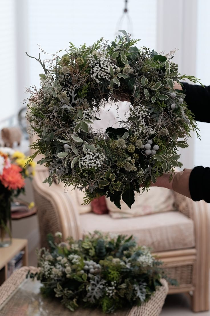 Christmas wreath with brunia, acacia and gypsophila