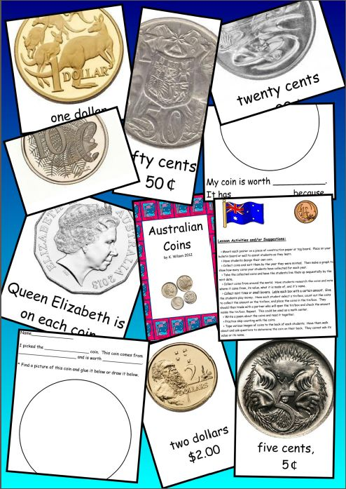 Australian Coins activities. Large coin images. Culture study.
