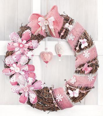 Türkranz in rosa und aus Weide selber machen - mit gratis Anleitung