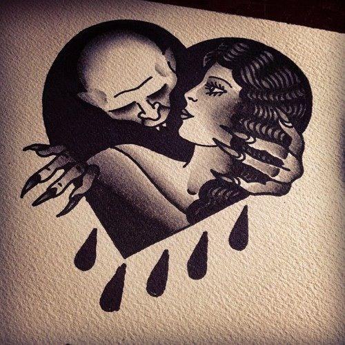 Flash art tattoo. Traditional tattoo. Nosferatu. Black and white.