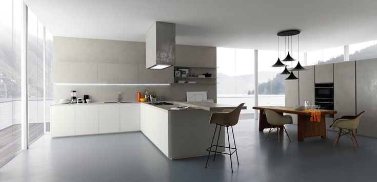 "Zampieri - #Glasstone kitchen in pearl oxide ""Laminam"" and white frosted glass."