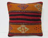 rustic pillow sham 18x18 bohemian floor pillow kilim pillow red decorative pillow black throw pillow bohemian pillow sofa cushion case 25157
