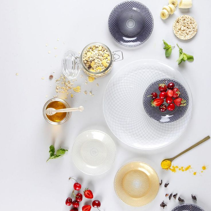 """Pin up your """"me-time"""" and get beautiful designer plates for your breakfast! Experiment with shapes and colours as much as you experiment with ingredients. 50+ ideas of glass dinner sets, side dishes, dessert plates, glass spoons and bowls to make you feel special every moment of it!"""