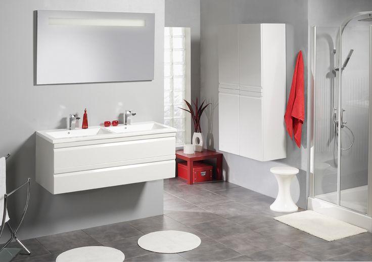 Wit glanzend badkamermeubel met ingewerkte handgrepen. Volledig mee met de tijd | Accent + | #allibert