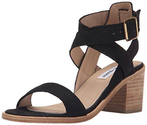 Steve Madden Women's Paalace dress Sandal, Black Leather, 9 M US