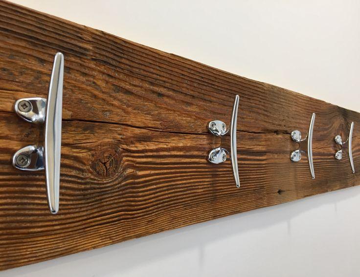 Reclaimed vintage wood marine style coat hanger