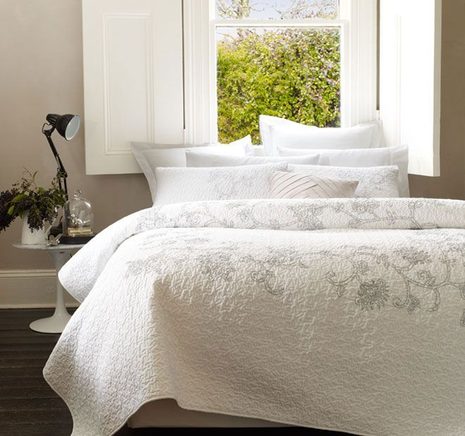 Pia White LUX - Features: Quilted cotton with premium cotton filling, Intricate silver chain stitch embroidery, Hand sewn sequins on the embroidery, To suit Double and Queen size beds.  Set Contains: x1 Coverlet - 220cm x 250cm, x2 Standard Pillowshams - 48cm x 74cm - #coverletsandcomforters