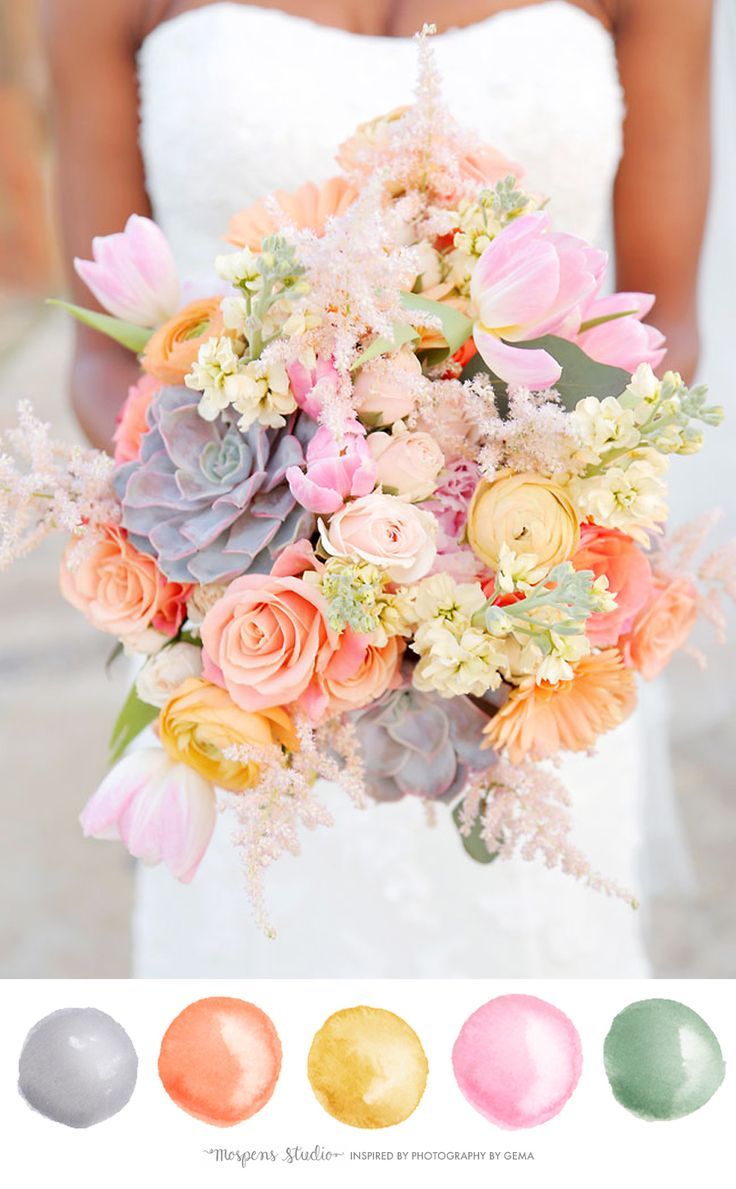 Coral orange is perfect for spring and summer weddings. The peach and coral paired with gold yellow caught my eye! The soft sage green makes this wedding color palette sweet and chic. This color palette works perfectly with gray. Follow me on Pinterest for more ideas! Photography by Photography By Gemma! I Are you getting …
