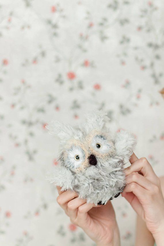 White Owl Plush Crochet Owl Stuffed Animal Knitted Owl Toy Cute Owl