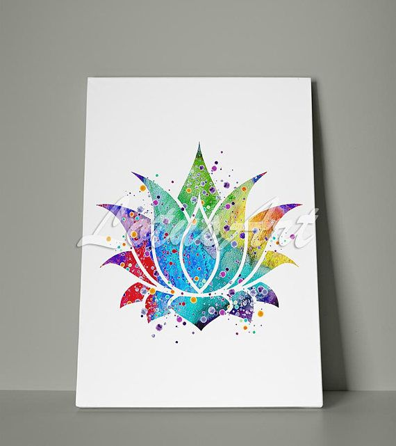 Lotus Flower Watercolor Canvas Wall Art Home Decor Meditation Art
