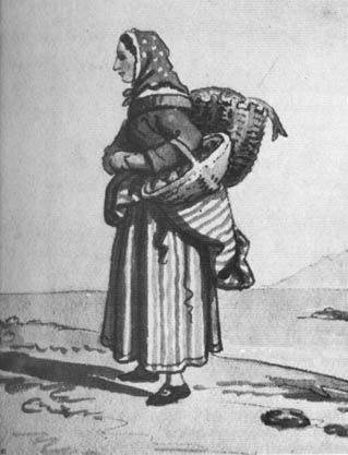 "David Allan, ""The Edinburgh Fishwife"", ca. 1788.  She is wearing a striped petticoat, possibly over another petticoat, another striped petticoat pinned back, shoes with buckles, a bedgown, a neckerchief, a white coif, and a spotted scarf on her head."
