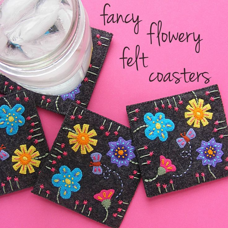 Get this free felt coaster pattern and stitch up some prettiness!
