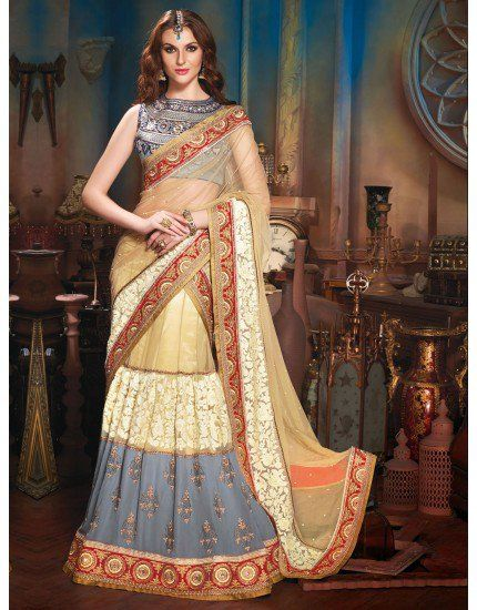 Cream and Grey Soft Net Lehenga Choli with Resham Embroidery Work
