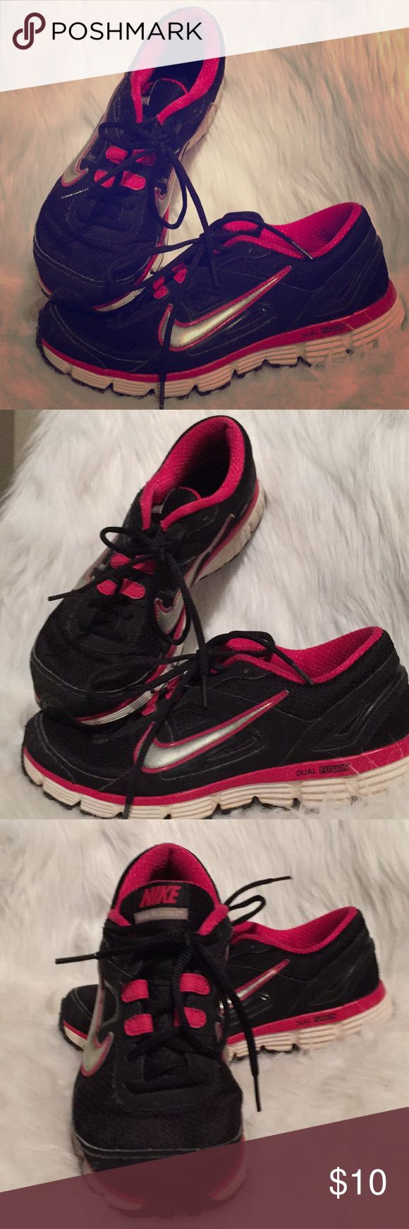 Nike Dual Fusion, 9, women's tennis shoes Nike Dual Fusion, 9, women's tennis shoes, Hot pink, black, silver and white. Sturdy shoes and cute. In good shape. Sneakers, cross training, athletic Nike Shoes Athletic Shoes