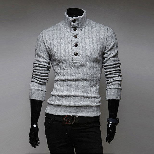 ROKEDISS Winter Thick Warm 100% Cashmere Sweater Men Turtleneck Brand Mens Sweaters Slim Fit Pullover Men Knitwear Stand up