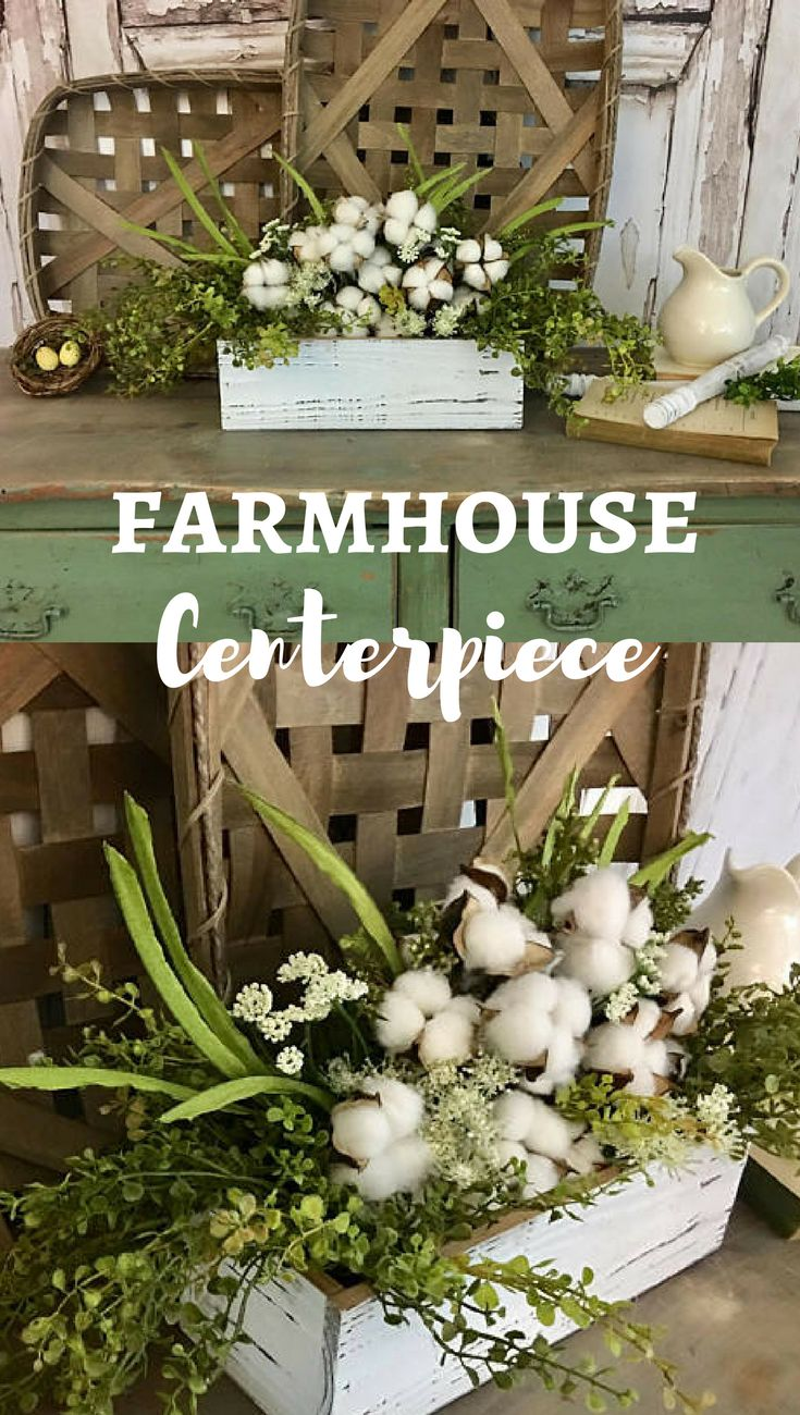 Just love this cotton arrangement in a chippy white wooden box with greenery. Could be used in so many ways for decorating! #farmhousedecor #ad #etsy #centerpiece #rustic #cottonboll #arrangement