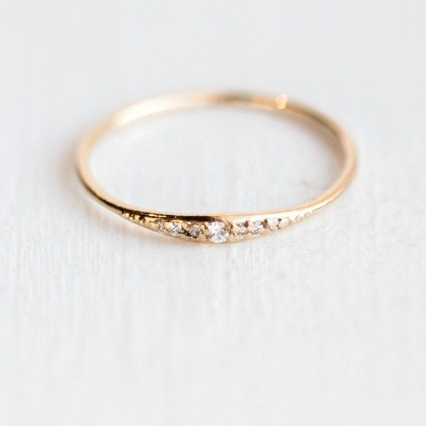 Details about Exquisite Small 14K Gold Filled Tiny Baguette Diamond Ring Size 6-10